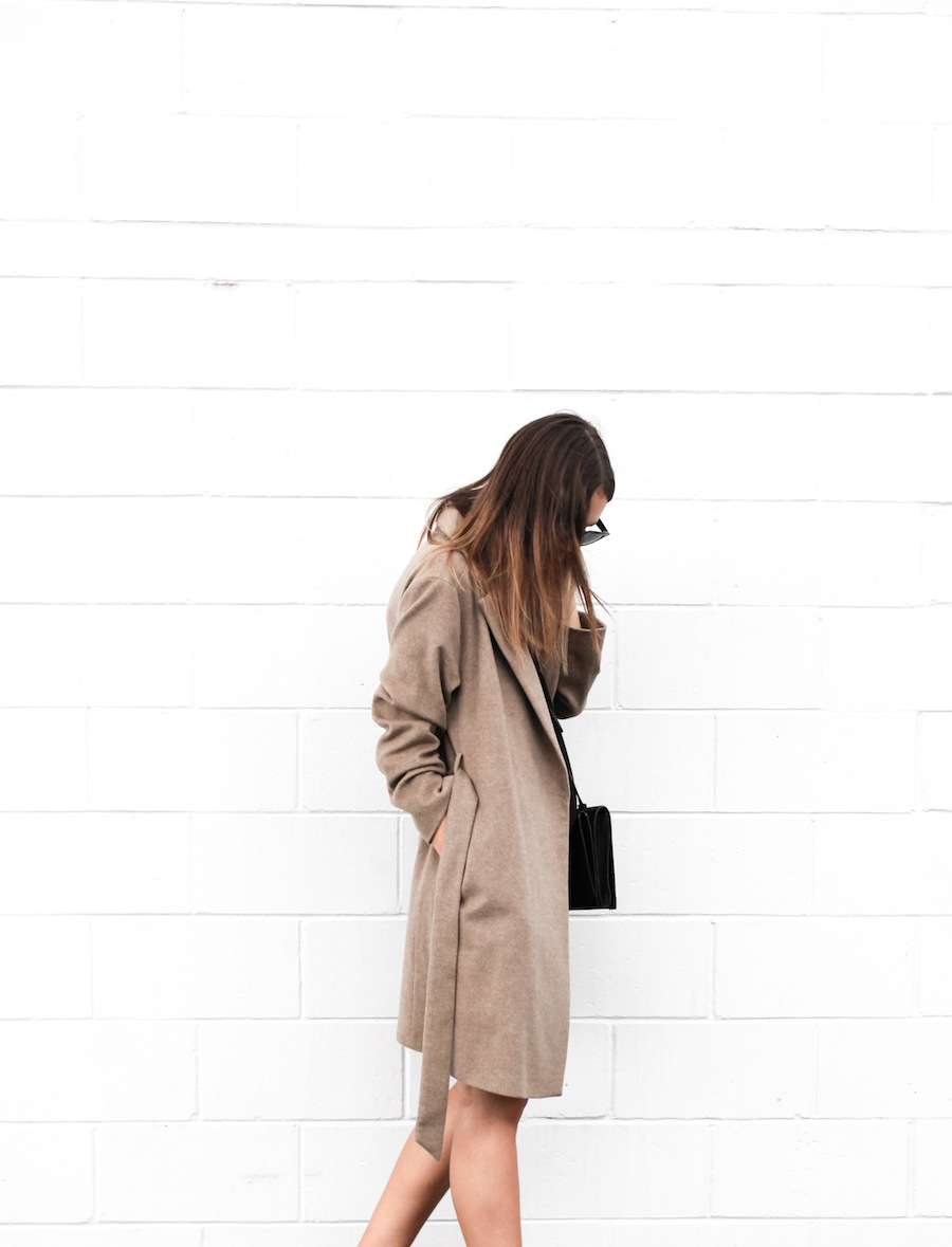 modern legacy blog camel long coat robe wool Zara slide sandals pool Alexander Wang Prisma Envelope cross body bag silk shift dress Nicholas black outfit street style blogger Australia (5 of 8)