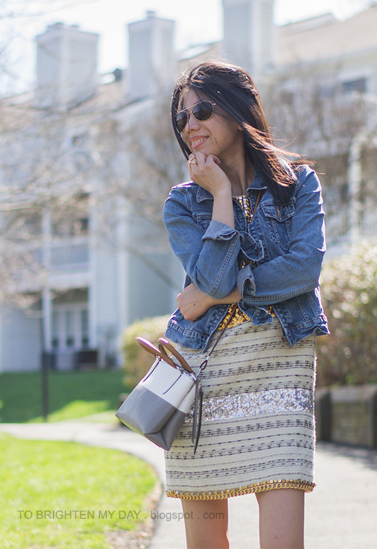 denim jacket, tweed and sequin dress, crossbody colorblock bag
