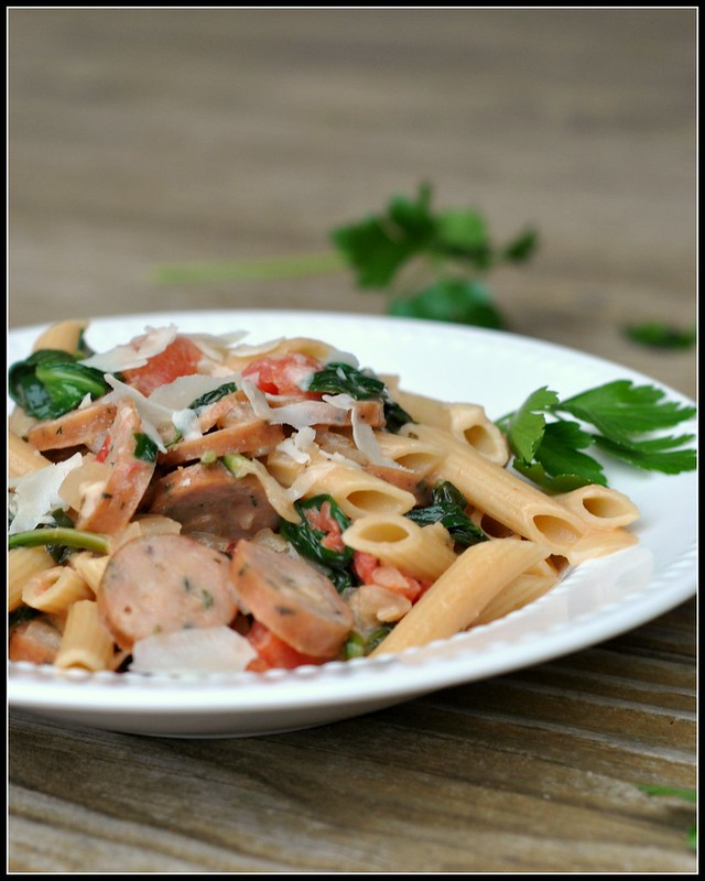 Creamy Chicken Sausage and Spinach Pasta 2