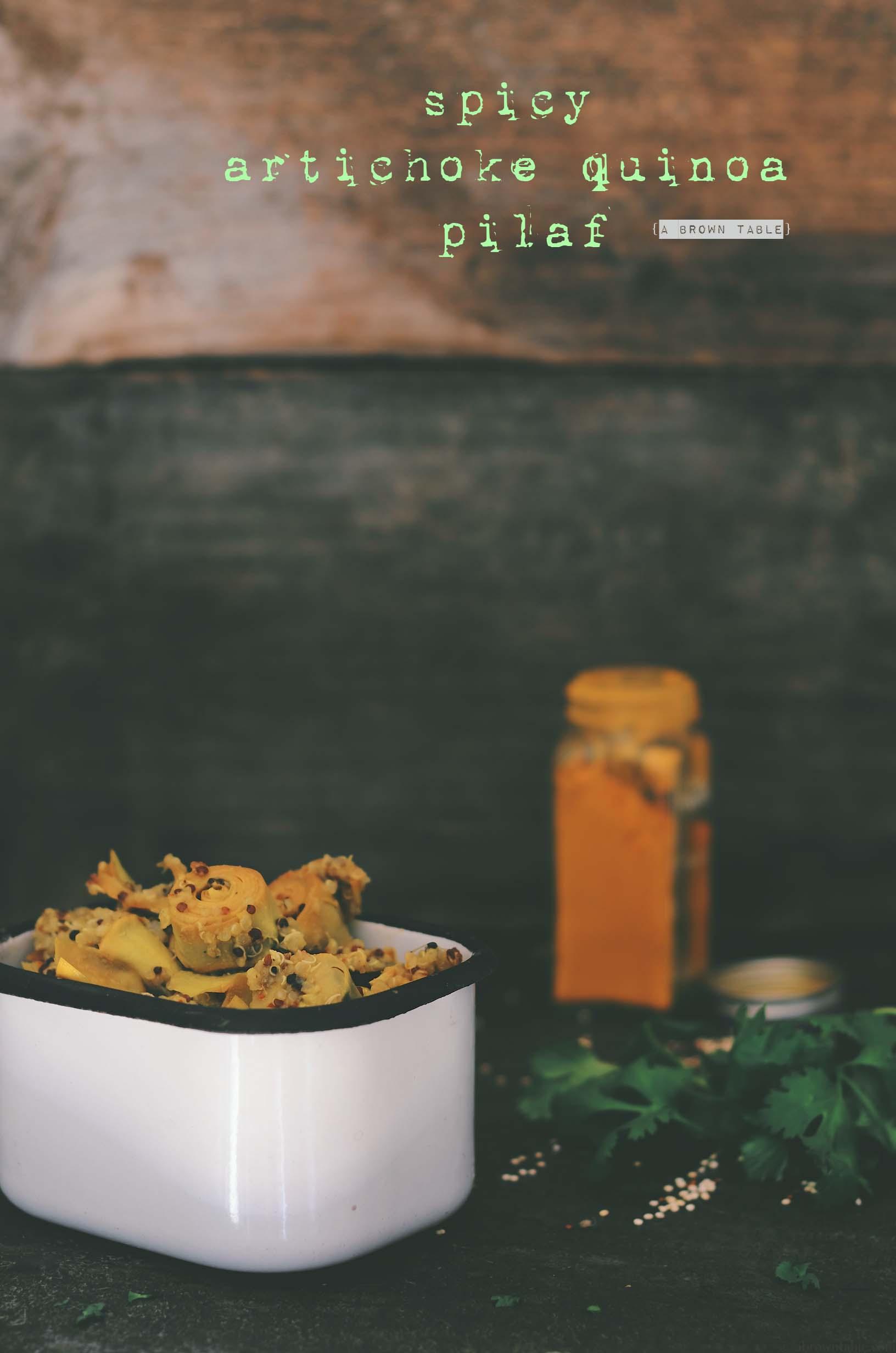 spicy artichoke and quinoa pilaf