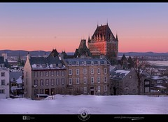 Chateau Frontenac winter sunset DRI