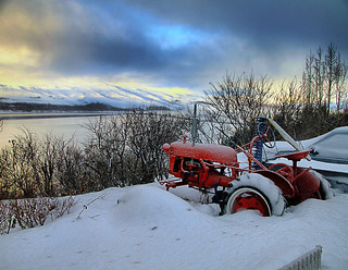 Red Tractor in Akureyri, Iceland