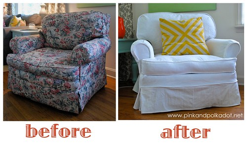 white slipcover club chair