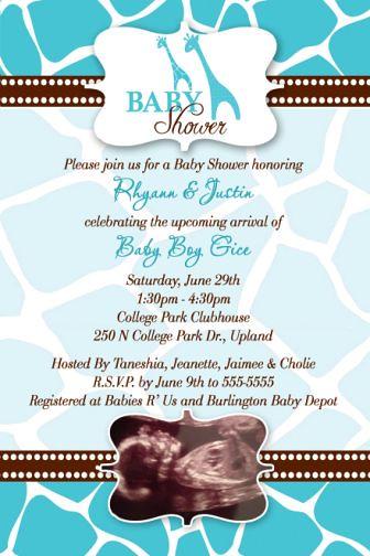 Boys Wild Safari Baby Shower Invitations Blue Brown Flickr