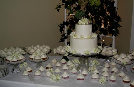 Wedding Cake with Cupcakes Wedding Cake Image
