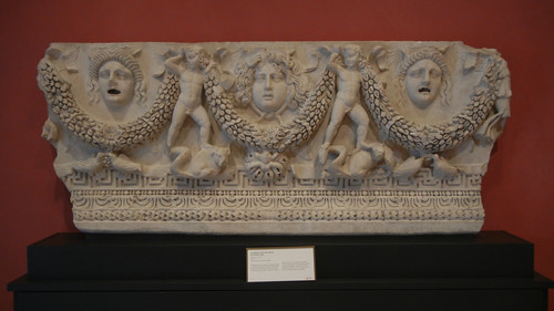 DSCN7464 _ Sarcophagus Panel with Medusa and Theater Masks, Getty Villa, July 2013