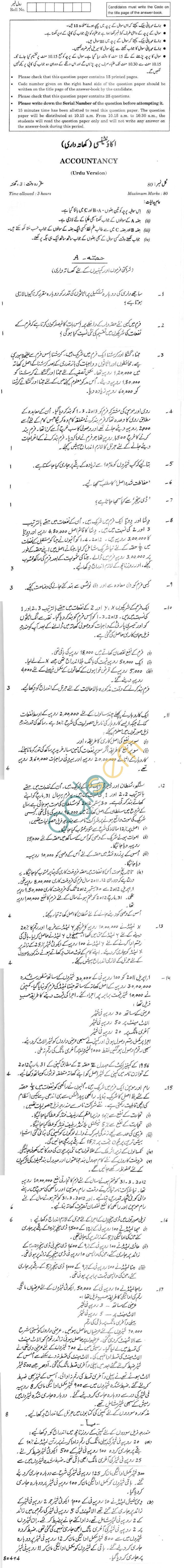 CBSE Compartment Exam 2013 Class XII Question Paper - Accountancy Urdu Version