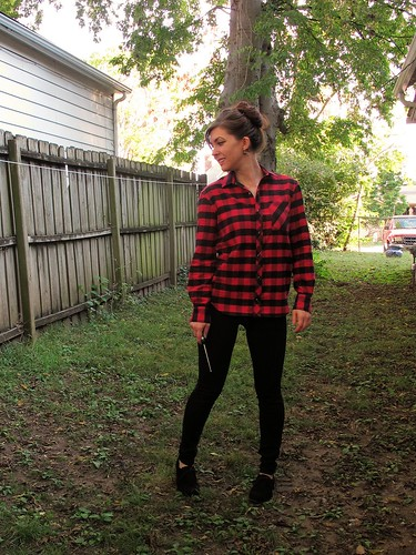 Red plaid flannel shirt and black ponte leggings, both made with Mood Fabrics.