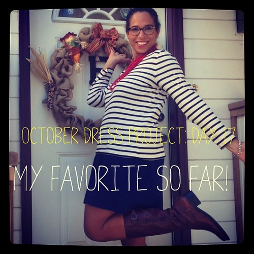 #ODP: Day 17. My favorite so far! Long sleeve boat neck over dress. Red necklace. Brown boots. #ABeautifulMess