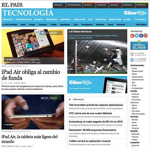 Portada de la sección de Tecnología de El País, 23 de Octubre de 2013