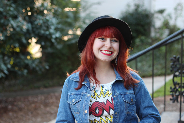 Black Hat, Red Hair, Denim Jacket