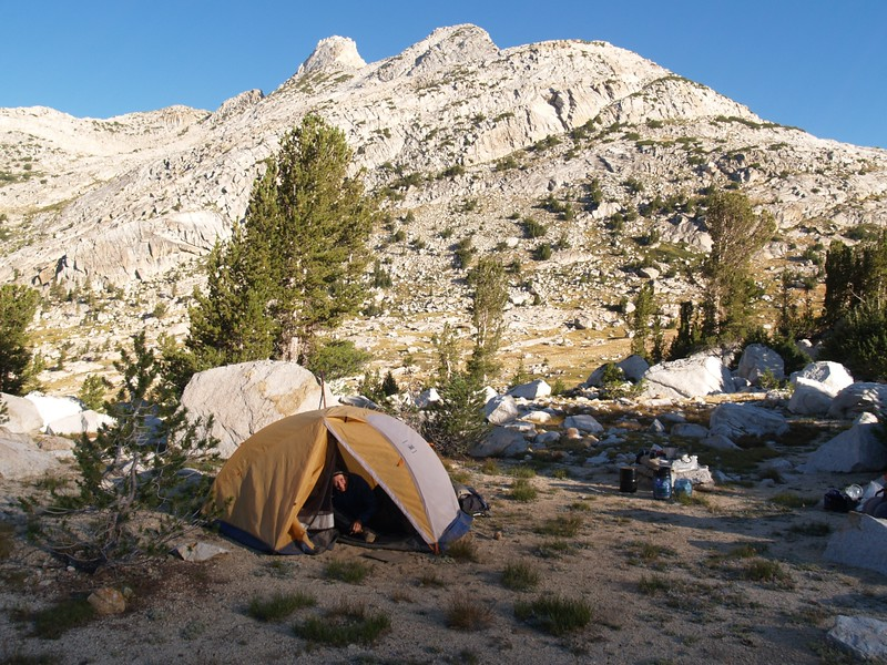 Morning light on our tent in Matterhorn Canyon, with the Finger Peaks