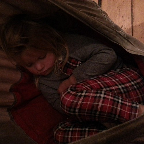 Peanut girl of mine. Toddler days of busy play while big siblings are doing #homeschool co-op classes are hard on her. Glad she settled into her little nest and found peace.