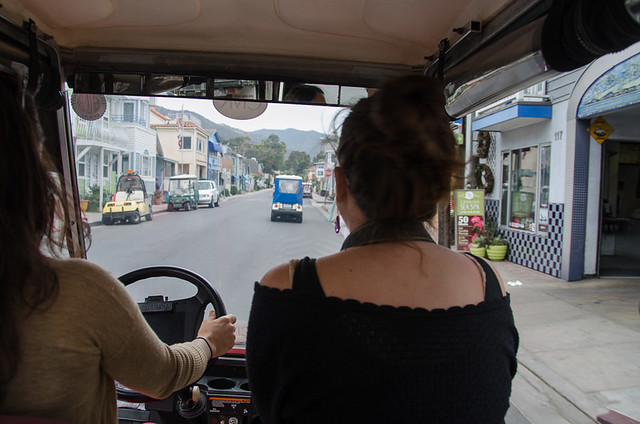 Riding a golf cart on Catalina Island