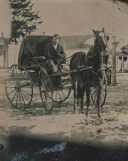Tintype - Man and Carriage