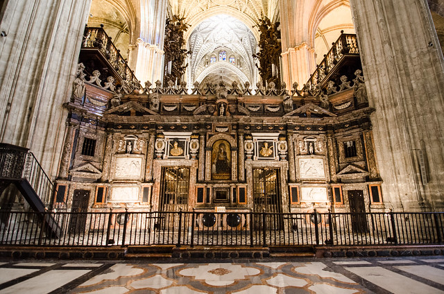 The ornate interior of the Seville Cathedral in Spain.