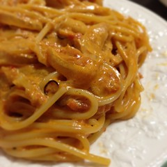pasta(0.0), bolognese sauce(0.0), fettuccine(0.0), pici(0.0), chinese noodles(0.0), carbonara(0.0), italian food(1.0), spaghetti alla puttanesca(1.0), bucatini(1.0), spaghetti(1.0), spaghetti aglio e olio(1.0), food(1.0), dish(1.0), bigoli(1.0), cuisine(1.0), chow mein(1.0),