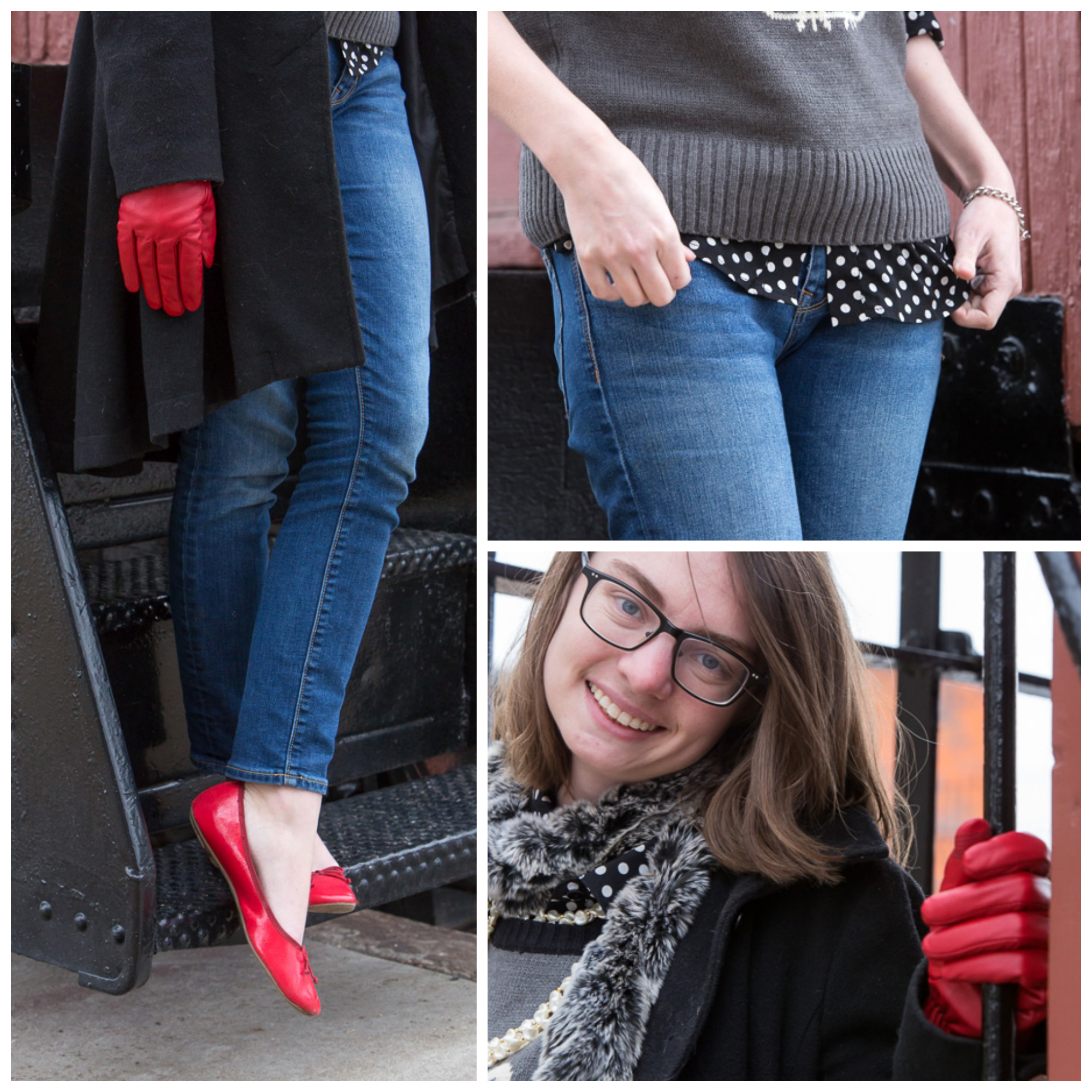 red gloves, owl sweater, polka dots, popbasic, red shoes, fur scarf, outfit, never fully dressed, withoutastyle, montana,