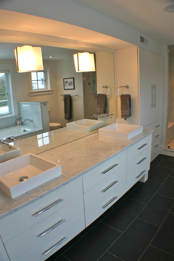 dual vanity sinks provide ample space for simultaneous morning preparations