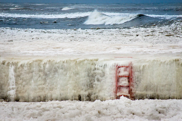 Ice, Cold, Water, Ladder, Red, Lake Michigan