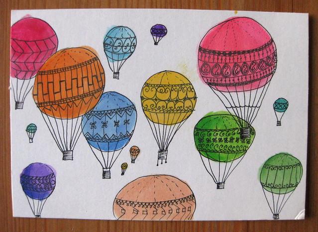 rainbow balloons postcard
