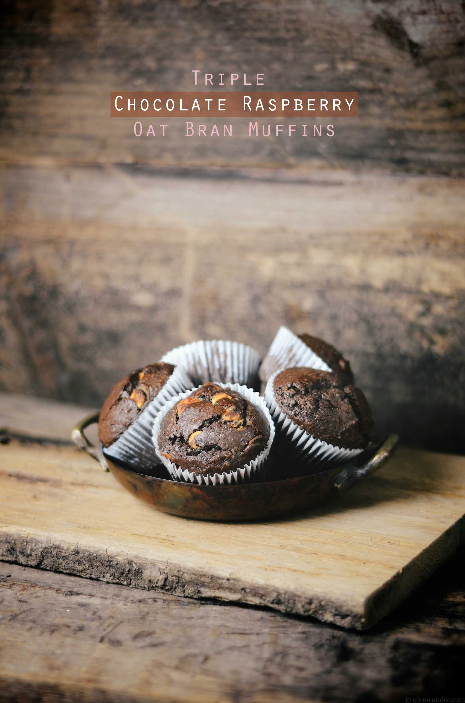 triple chocolate raspberry oat bran muffins