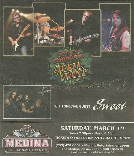 03/01/14 April Wine/ Sweet @ Medina Entertainment Center, Medina, MN