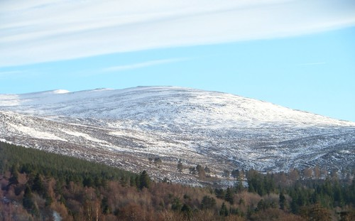 Snow Covered Craig Vallich, Overlooking The 'Royal Warrant' Village Of  Ballater, Royal Deeside, Cairngorms National Park, Aberdeenshire, Scotland, UK.