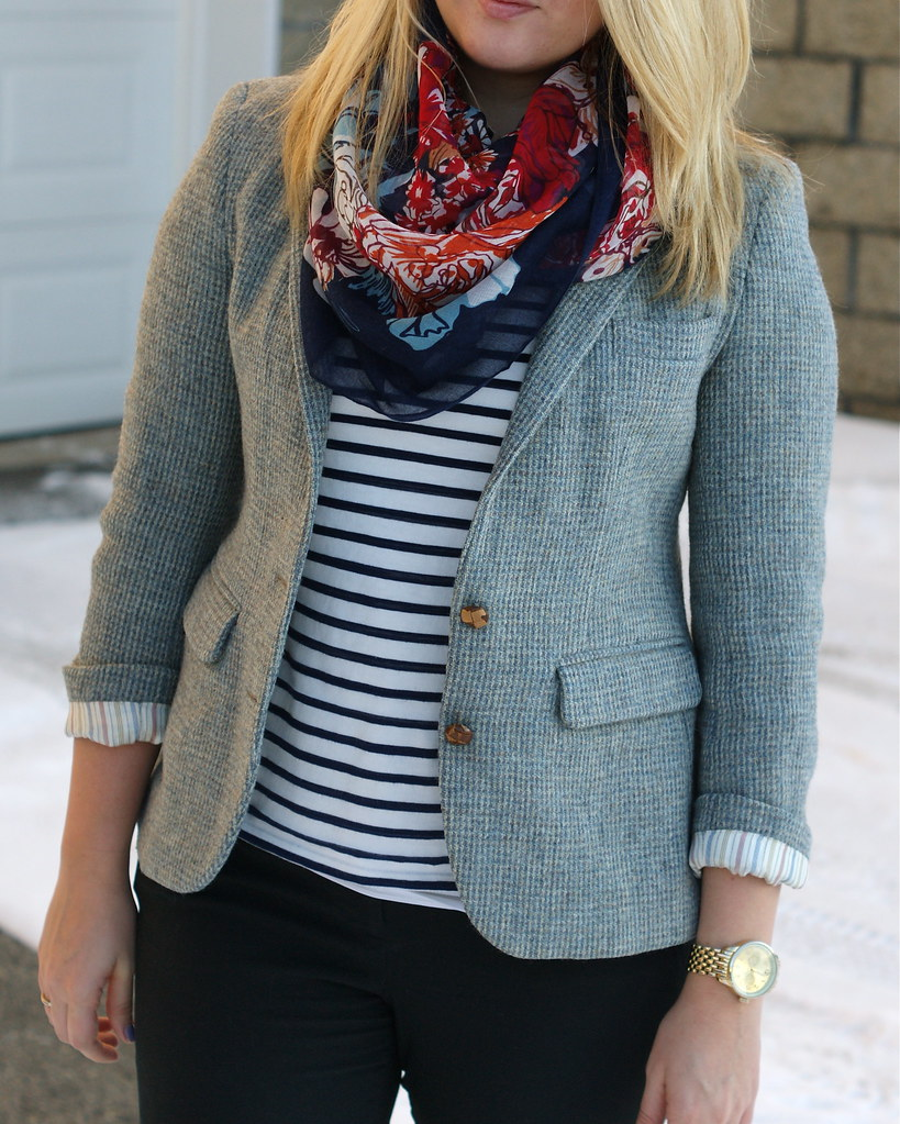 Floral scarf striped shirt