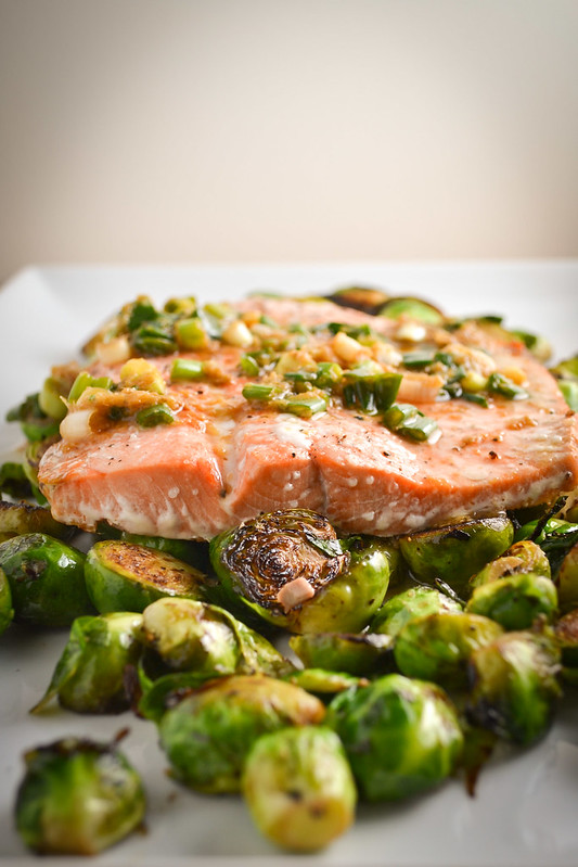 ginger scallion salmon with brussel sprouts | things i made today