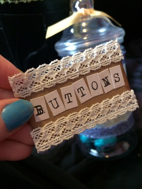 Buttons label for upcycled craft jars