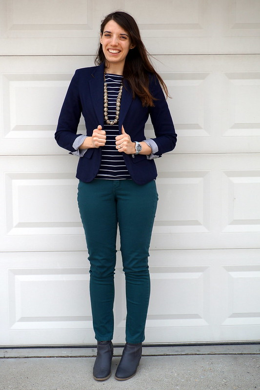 navy stripes and green jeans