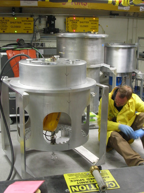 Science staff prepares measurements on the Single Crystal Diffraction Device at Los Alamos National Laboratory's Lujan Neutron Scattering Center.