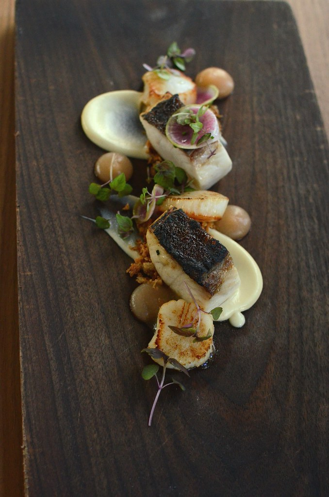 My Birthday Lunch at The Boathouse on Blackwattle Bay:: miso glazed north queensland cobia with seared scallops, cauliflower, apple and walnut crumble.