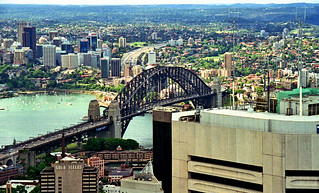 Oct 1995 - View directly north across the iconic Sydney Harbour Bridge from the Centrepoint Tower, Sydney, New South Wales, Australia