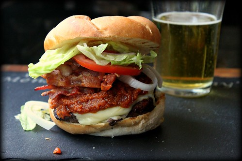 Bacon cheeseburger with peanut butter Sriracha ketchup recipe