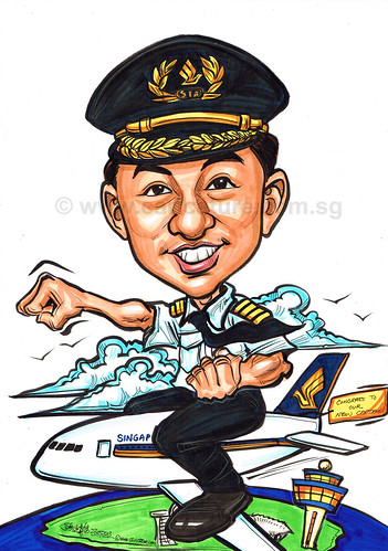 captain caricature for Singapore Airlines
