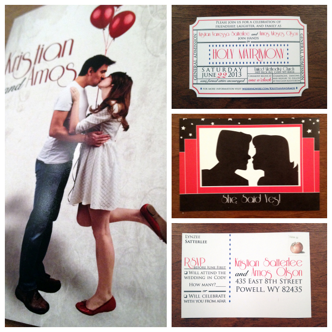 wedding, invitations, movie ticket, postcard, never fully dressed, without a style,