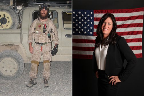On the left, a photo of Chris Beck as a male navy seal. On the right, a photo of Kris Beck as a female veteran.