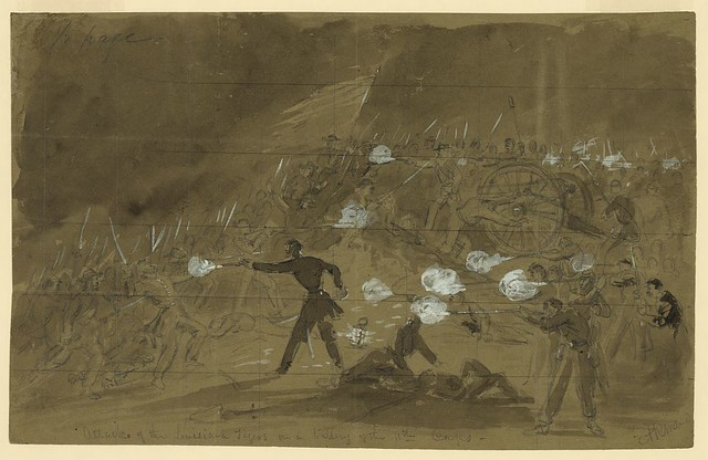 On the second day of battle, news artist Alfred Waud portrayed a major Confederate attack by the Louisiana Tigers at Cemetery Hill (LOC)