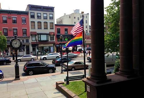Rainbow flag over Hoboken