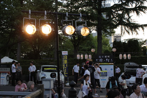 ステージ用の照明も日産リーフから電力供給