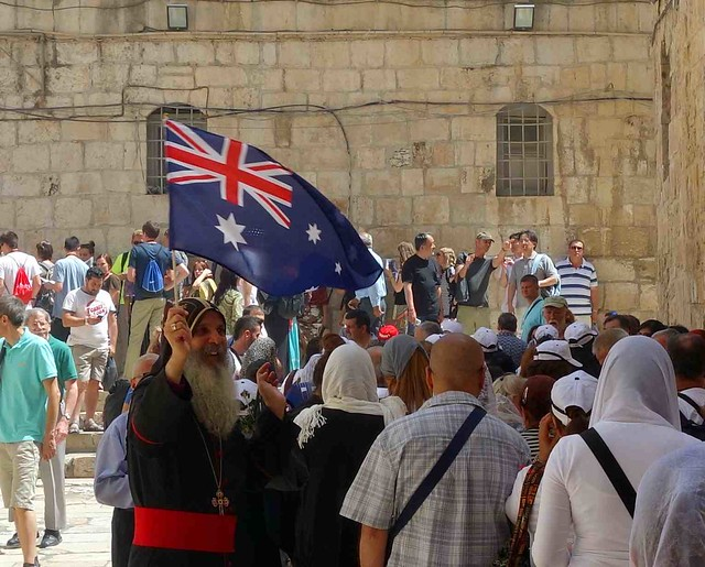 Go Aussie! At the Church of the Holy Sepulchre