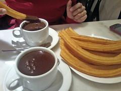meal(0.0), coffee(0.0), drink(0.0), breakfast(1.0), cup(1.0), food(1.0), dish(1.0), dessert(1.0), cuisine(1.0), snack food(1.0), churro(1.0),