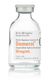 Demerol meperidine iv 50mg 30ml vial Hospira