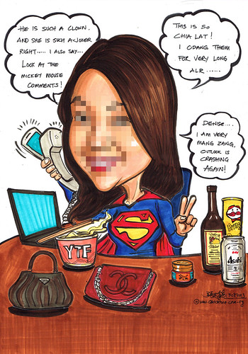 Superwoman caricature multitasking