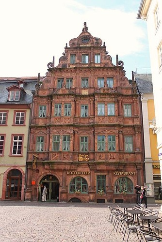 front view of facade of exclusive hotel in Heidelberg