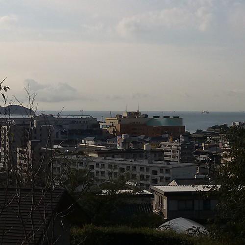 今日の現場から見た風景。この海の先は、九州じゃけどな!絶景かも?