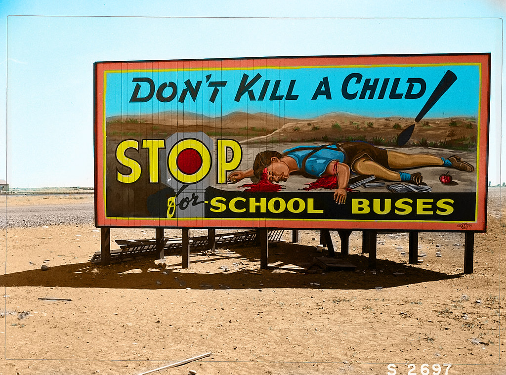 Colored Version of Hanford Safety Billboard from B&W Photo in Archive