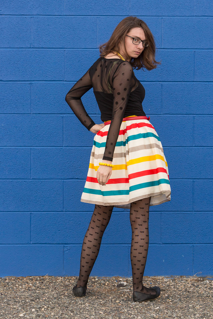 stripes, rainbow, dance, dress, modcloth